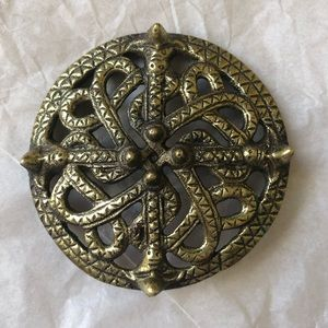 VTG Kalevala Koru Bronze Viking Shield Brooch